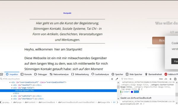 Firefox Webseiten-Inspektor blaue Überschrift