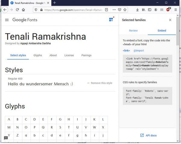 HTML Schriftarten Google Fonts