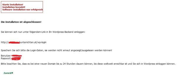 WordPress 1-klick-installation abgeschlossen