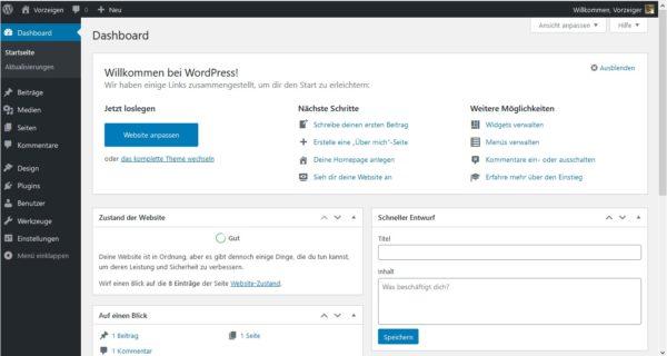 WordPress 1-Klick-Installation Dashboard
