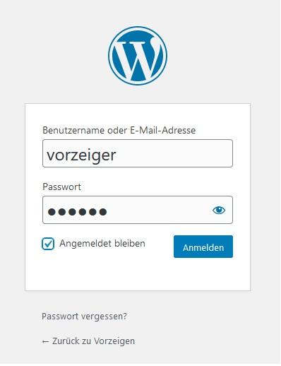 WordPress 1-Klick-Installation erster Login