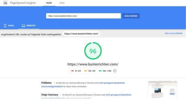Webseiten Geschwindigkeit bunterrichten