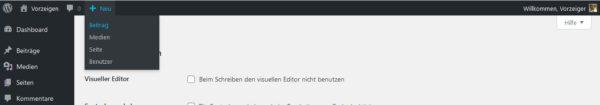 WordPress Backend Admin-Leiste