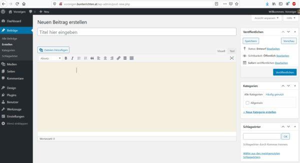 WordPress Beiträge erstellen 2
