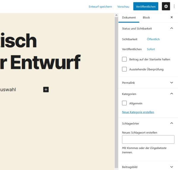 WordPress Beiträge erstellen Gutenberg-Editor