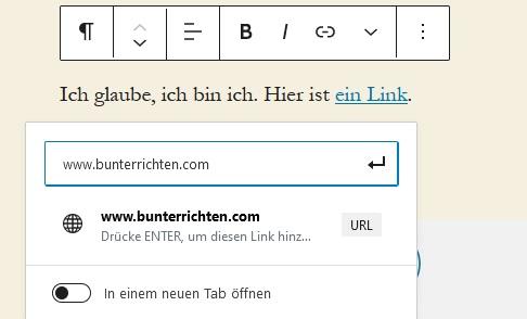 WordPress Gutenberg Links einfügen