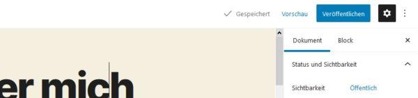 WordPress Gutenberg Speichern Vorschau Veröffentlichen