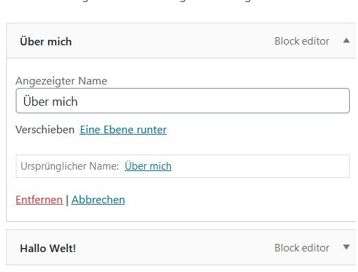 WordPress-Menü erstellen Link entfernen