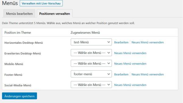 WordPress-Menü erstellen Positionen verwalten