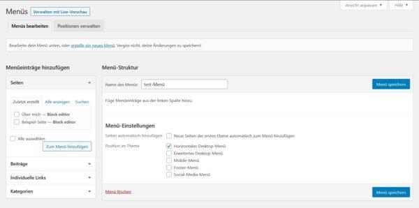 WordPress-Menü erstellen