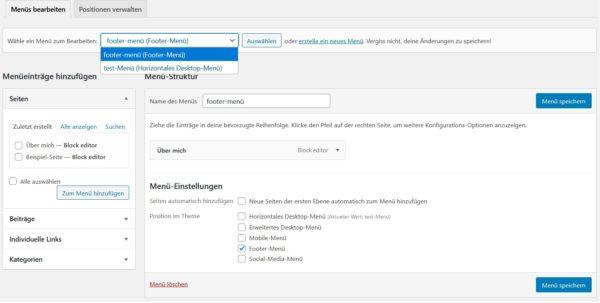 WordPress-Menü erstellen mehrere