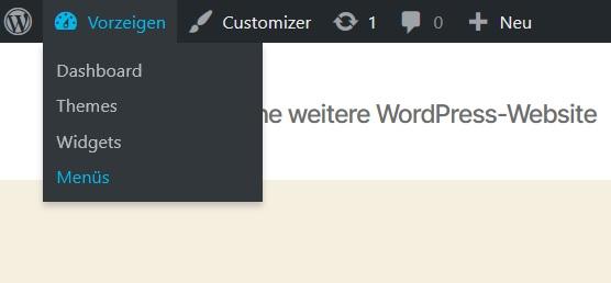 WordPress-Menü Admin-Leiste