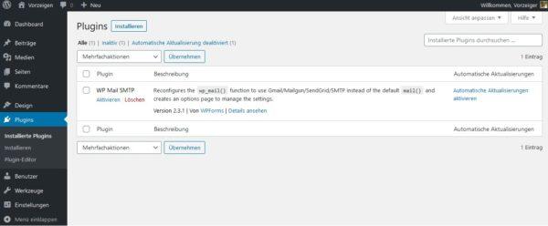 WordPress Plugins Liste