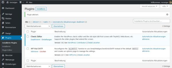 WordPress Plugins Liste neues Plugin installiert