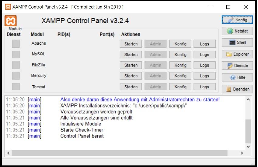 XAMPP einrichten